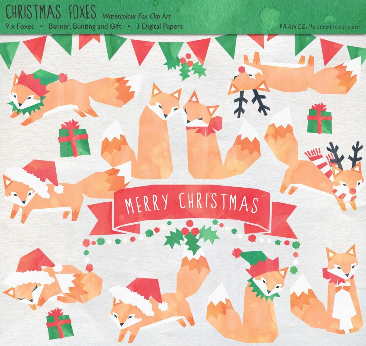 Fox Head Clip Art Fox Christmas Clip Art