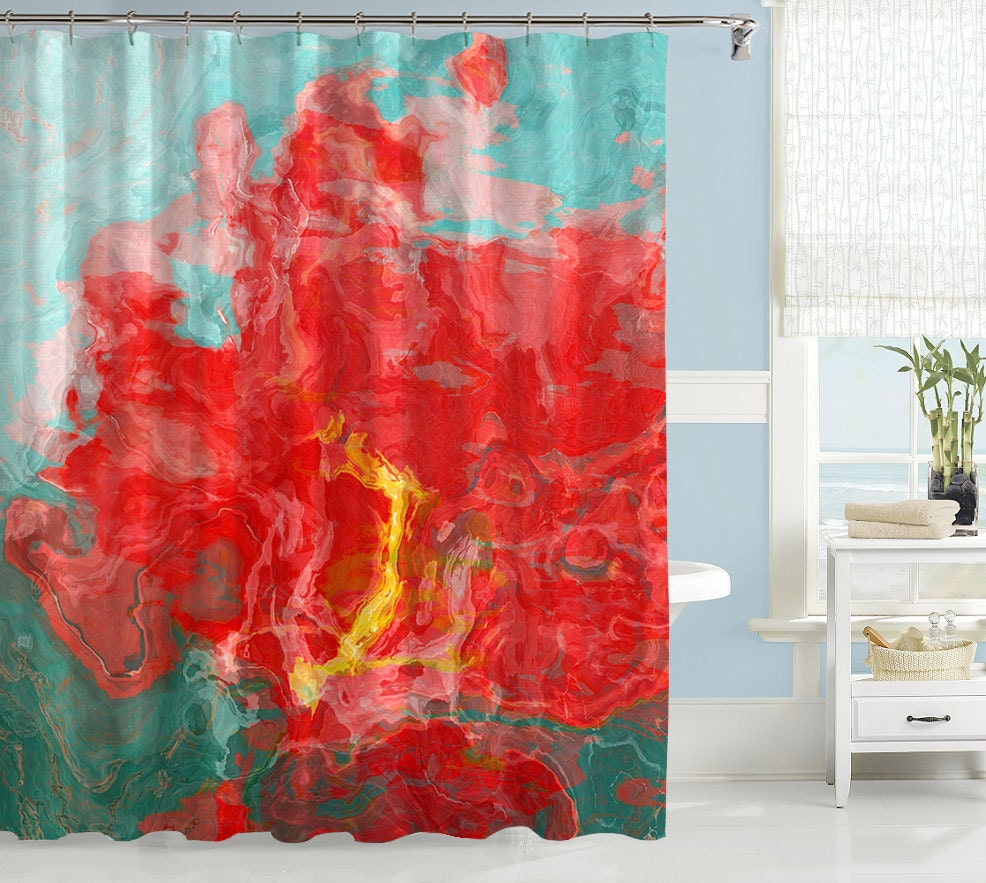 Abstract Shower Curtain Contemporary Bathroom Decor Red And