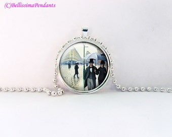 Paris Street, Rainy Day, Gustave Caillebotte, 1 in. 25.4 mm necklace or keychain