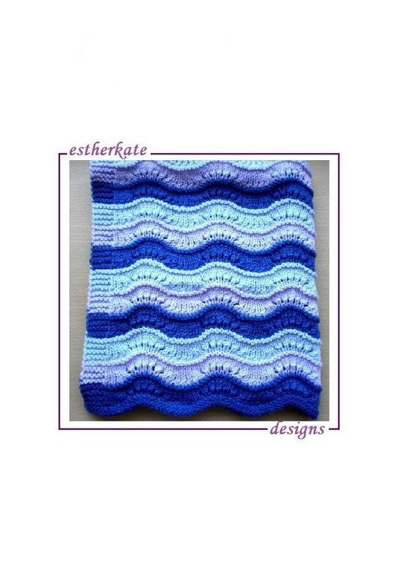 Knit Baby Blanket Wave Pattern : KNITTING PATTERN pdf lace new wave blanket by EstherKateDesigns