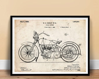 "Harley Davidson Poster 18x24"" Handmade Giclée Gallery Print 1928 Harley-Davidson Motorcycle Patent Art"