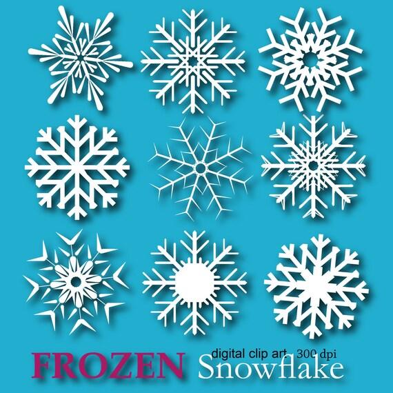 Frozen Snowflake Clipart Snowflake digital paper Edible Snowflakes Frozen party decor Frozen snowflake invitation Frozen birthday favor DIY