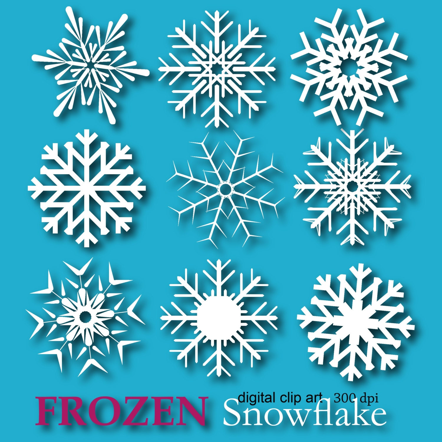 Frozen Snowflake Clipart Snowflake digital paper Edible by DIGIFT