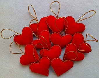 Handmade felt hearts set of 12