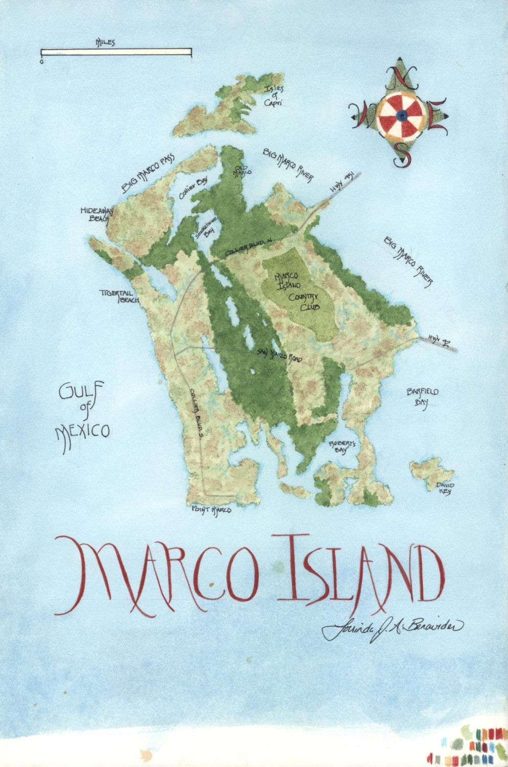 Gulf of Mexico map of Marco Island Florida watercolor