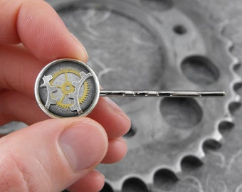 Steampunk Silver Bobby Pin or Tie Clip - Slice of Time by COGnitive Creations