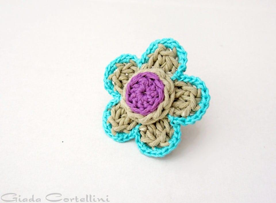 Crochet hemp ring crochet flower ring gypsy by GiadaCortellini
