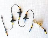 Beaded Windchime: Garden Chime with Bright Eyed Birdies. Black Lampwork Glass Bird Beads. Blue. Yellow. Orange. Multicolors. Brass Bell