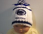 Custom handmade knit  PENN STATE University  baby hat cap beanie 0-12M-cute gift photos  Penn State Blue & White Colors