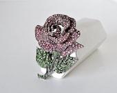 Rhinestone Encrusted Rose Brooch Designed by Thelma Deutsch