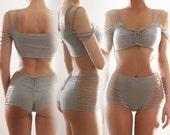 Cotton jersey strappy sleeve top and high waist panties set.