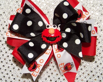 ELMO Hair Bow or Headband / Red & Black / Triple Stacked / 123 Sesame Street / Big Bird / Infant / Baby / Girl / Toddler/ Boutique Accessory