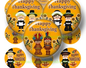 Thanksgiving, 1 Inch Round, Bottle Cap Images, Digital Collage Sheet, Printable Download, 1 Inch Circles (Thanksgiving Kids 1)