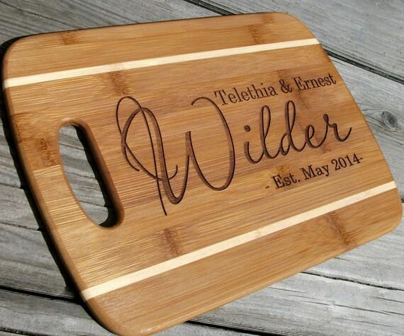 Custom Cutting Board Personalized Bamboo Cheese Tray Wedding
