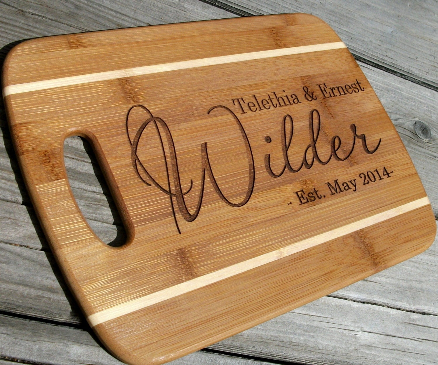 Personalized Cutting Boards ~ Custom cutting board personalized bamboo cheese tray wedding