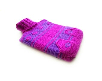 Violet and Purple Knit Hot-water Bottle Cover