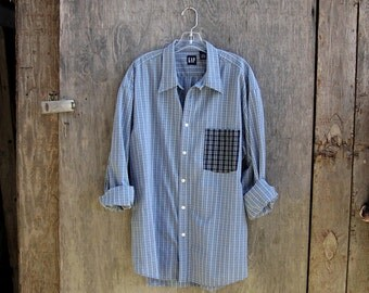 CONTRAST POCKET shirt upcycled blue plaid shirt long sleeve oxford button up boyfriend shirt grunge GAP shirt men xl
