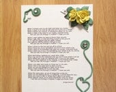 "Canvas ""See Me Through It Mother"" Poem Print With 3d Polymer Clay Rose Embellishments"
