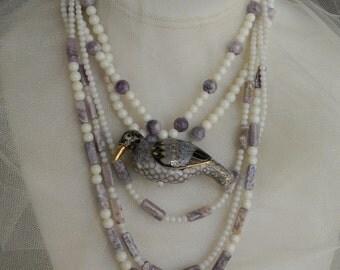 Ceramic bird pendant w white coral & sugilite beads necklace set , white coral beads necklace , beaded jewelry , unusual unique necklace set