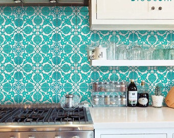 Tile decal : Indian Teal Hand Painted Tile Decals - 44 numbers