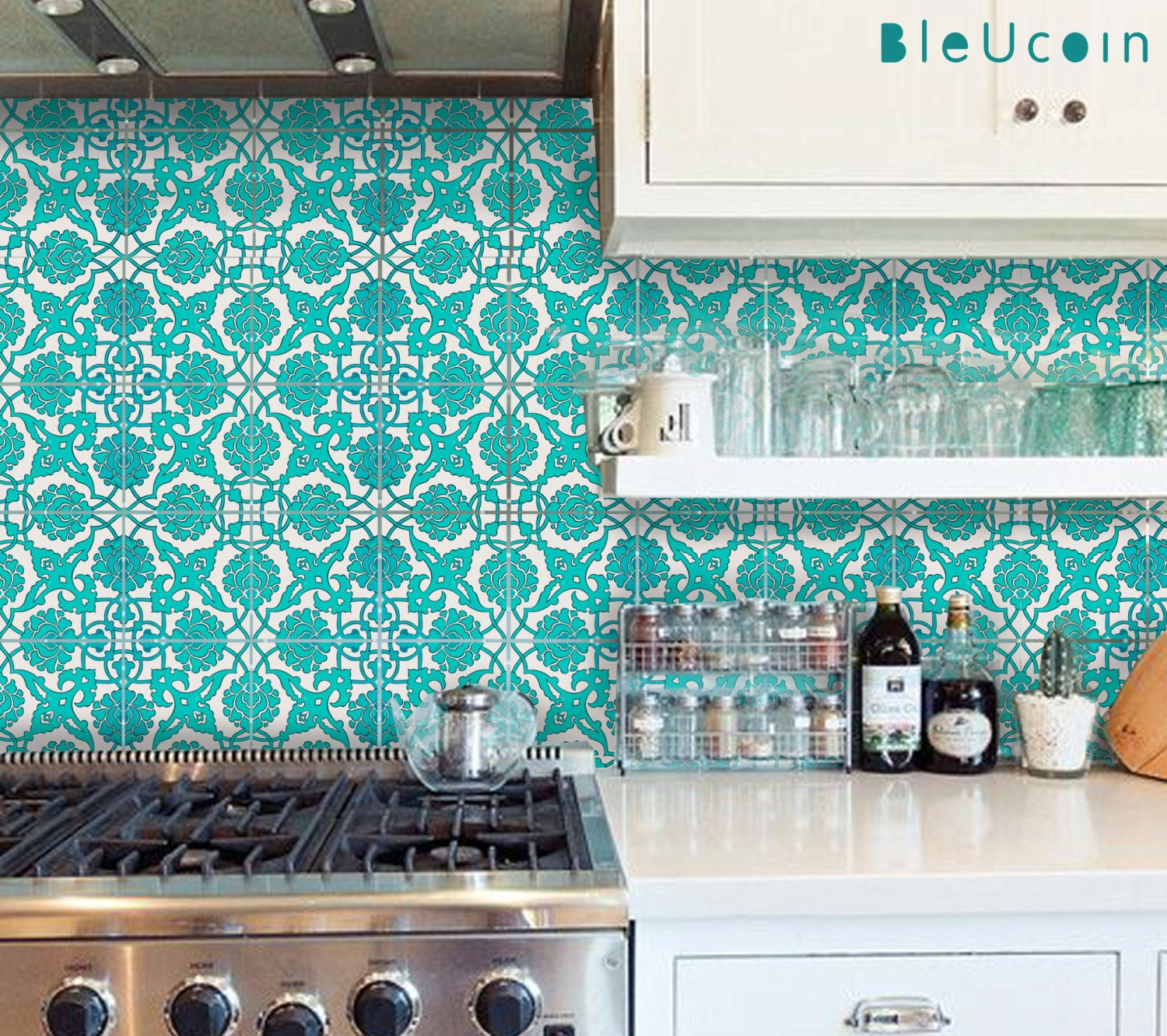 Tile Decal Indian Teal Hand Painted Tile Decals 44 Numbers