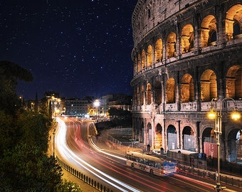 Colosseum, Rome, Italy, Stars, Night, Romantic, Roman Architecture, Light Trails, Lazio - Travel Photography, Print, Wall Art