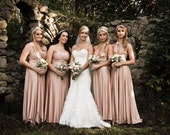 reserved for Haley Wood Every Dress is CUSTOM Infinity Convertible Transformer Dress ANY SIZE Rosewater Blush Nude Rosegold Rose Gold
