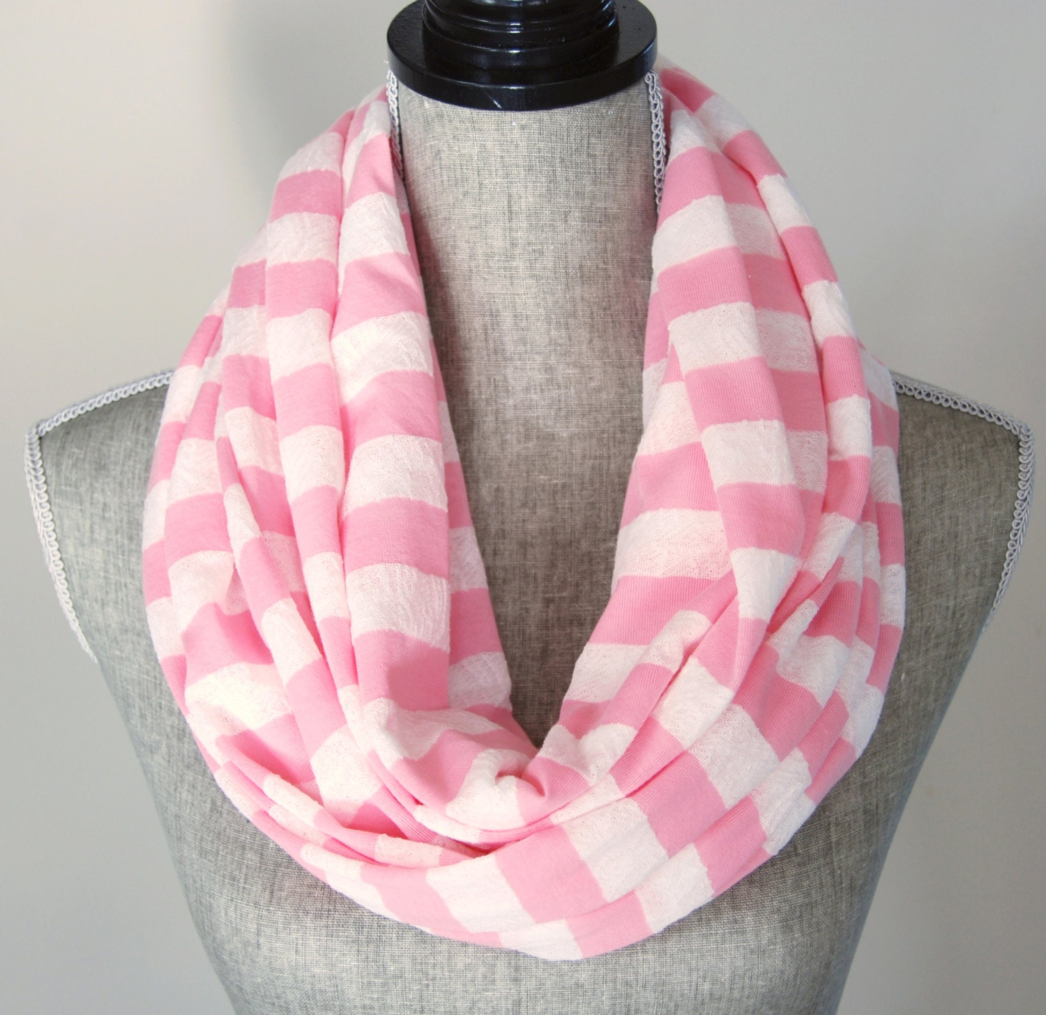 fabric pink infinity scarf lace and jersey knit pink stripe