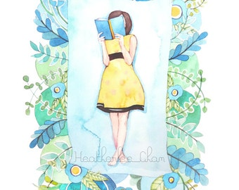 The Reader in Blue, Green, and Yellow - Art Watercolor Painting Print