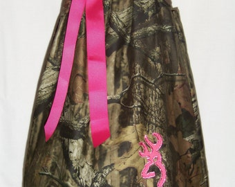 CAMO Ruffle Dress / Hot Pink + Mossy Oak / Bling Deer / Rhinestones / Flower Girl / Wedding / Infant / Baby / Girl / Toddler / Boutique