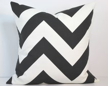BLACK WHITE PILLOW - Invisible Zipper. 13 Standard Sizes. Custom Sizes Available. Designer Fabric From Premier Prints.
