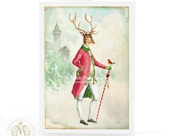 Stag, Christmas card, Anthropomorphic, Deer, reindeer, antlers, winter, woodland, castle in the snow, card for him, robin, holiday card