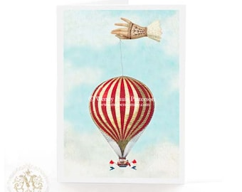 Hot air balloon card, steampunk, French vintage flight greeting, blank inside