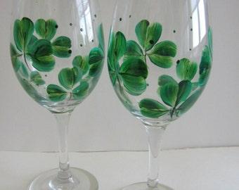 2 Shamrock Handpainted Wine Glasses