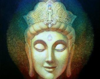 KUAN YIN Meditation Buddha Art Goddess Buddhist poster print of painting by Sue Halstenberg