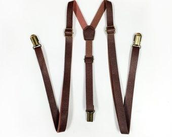 KID's, Brown Leather Suspenders, brown suspenders, suspenders, Boy's Suspenders, skinny suspenders, Boys suspenders, Wedding, Ring Bearer
