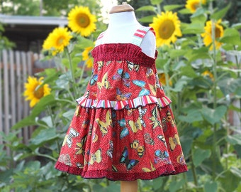 Butterfly Baby Dress Baby Girl Clothes Hipster Summer Baby Sundress Red Baby Dress Baby Girl First Birthday Outfit Girl Baby Party Dress