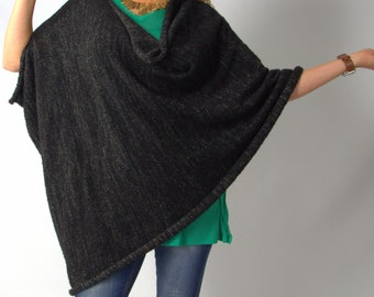 Black poncho, knit tunic wrap, cloak, cape,  from soft wool, size XL