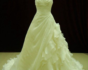 Gorgeous Organza Pleated Wedding Dress with Straps Custom Made to your Measurements