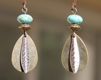 Southwest Earrings Turquoise Brass Dangle Drop Earrings Boho Bohemian Dangle Earrings Jewelry SMALL EARRINGS Gift for her Gift ideas