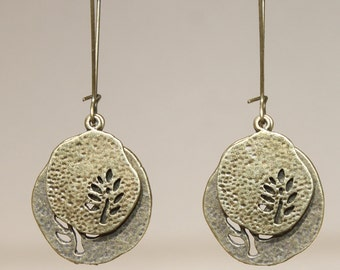 Leaf Earrings Dangle Jewelry Brass Earrings Bohemian Earrings Boho Earrings Metal Earrings Gift Ideas Gift for her for her