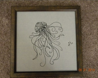 SALE Jellyfish  - hand embroidered - framed **