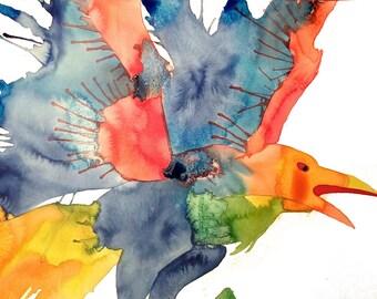 Rainbow Raven Print, Original Art, Liquid Acrylic