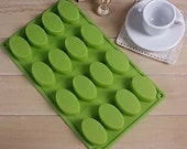 16 even egg-shaped oval soap mold silicone bakeware DIY chocolate mold ice lattice ice