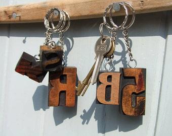 Original Vintage Letterpress Keyrings