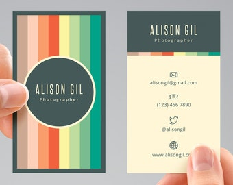 Color Stripes Business Card Template, Digital File. BCTE