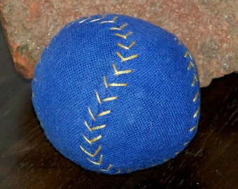 Hand Stitched Catnip Baseball-Designer Cat Toy Baseball-Blue Baseball Catnip Toy-Item#BLZ-P blue