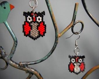 Owl delica beaded earrings - with silver hooks
