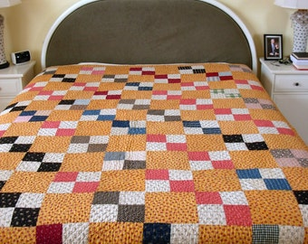 Lovely Antique Four Patch Handmade Quilt.