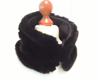 Small black mink fur collar